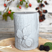Bark & Berry Sculpted Vegan Pillar Candle: Grey