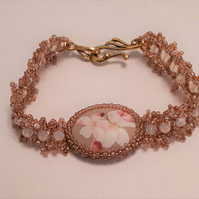 Apple blossom design, cabochon bracelet