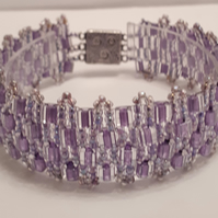 Pretty pale purple colour bracelet made of cube shaped beads
