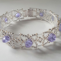 Silver bead and Lilac crystal bracelet
