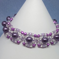 Square Panel bracelet with pearl centre -purple colourway