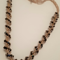 Champagne gold and  bronze crystal, spiral necklace