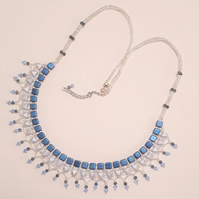Egyptian style collar necklace in shades of blue
