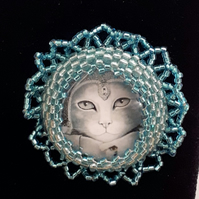 Egyptian Cat brooch - turquoise