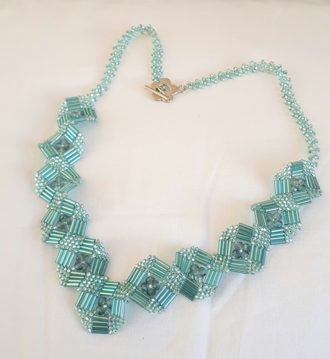 Turquoise Bugle Squares Necklace Folksy