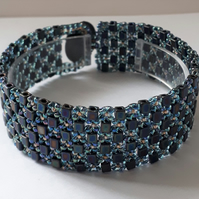 Turquoise cube  cuff style bracelet