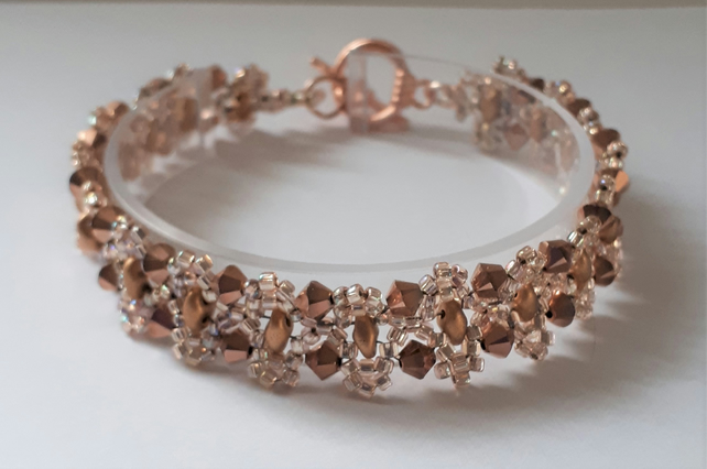 Skinny rose gold seed bead and bronze crystal bracelet