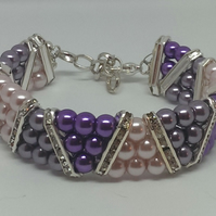 Shades of Pink and Purple slant bracelet