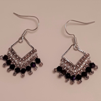 Purple seed bead and crystal Earrings