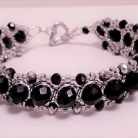 Black crystal and silver seed bead bracelet