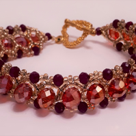 Red Crystal and golden seed bead bracelet