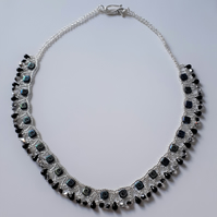 Black etched tile collar style necklace