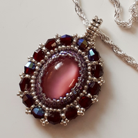 Ruby Crystal and Pink Cats Eye Pendant on silver plated Chain