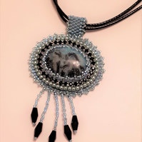 Fringed Bead embroidered Cabochon pendant on leather type cord necklace