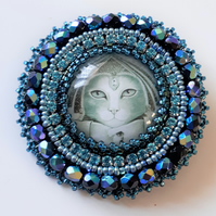 Bead Embroidered Egyptian Cat Brooch - Ptolemy