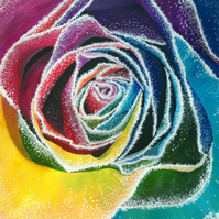 Rainbow Rose Greetings Card