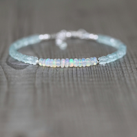 Ethiopian Welo Opal & Aquamarine Bracelet. Sterling Silver, Gold or Rose Filled