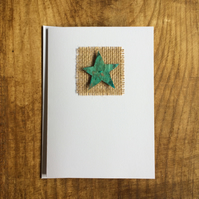 Oxidised copper foil star blank greeting card