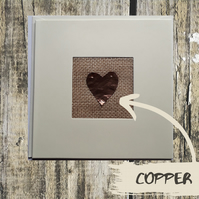 Real copper handmade seventh wedding anniversary card with real copper heart