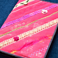 Coral pink embroidered patchwork reusable A5 notebook cover