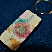 floral pattern recycled vintage domino keyring