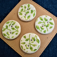 green and white leaf pattern buttons x4