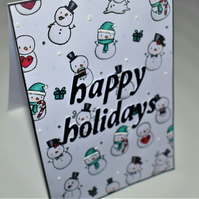 snowman happy holidays handmade winter or christmas card