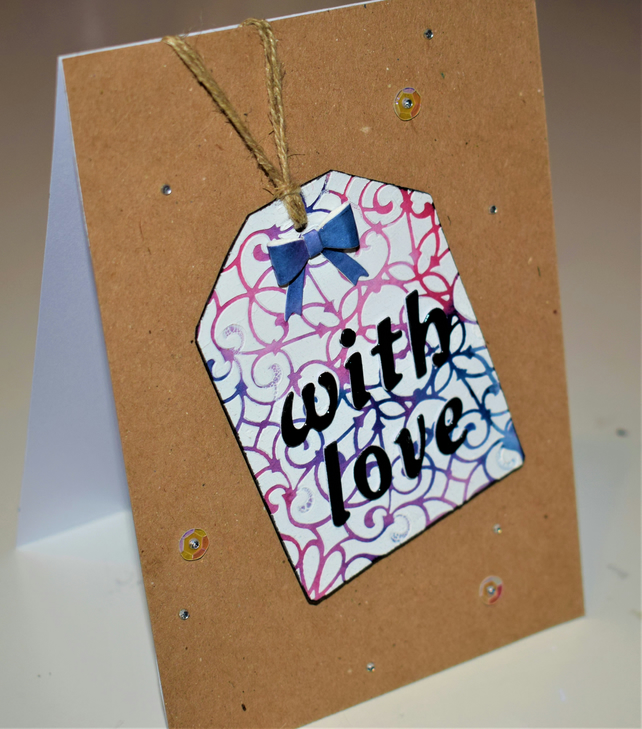 with love textured handmade card