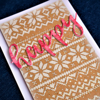 glitter fair-isle pattern happy celebration handmade card. christmas,winter card