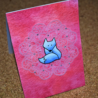 coral pink watercolour, lace and arctic fox handmade card
