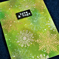 green metallic snowflake simple winter or christmas card