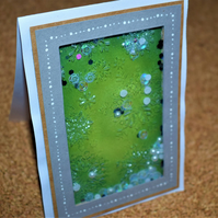 snowflake shaker card, green, winter or christmas card