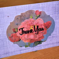 vintage floral thank you card. handmade. coral pink and grey