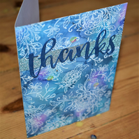 watercolour floral thank you card. handmade, blue, purple, glitter