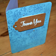 floral thank you card. hand made blue with pearl effect