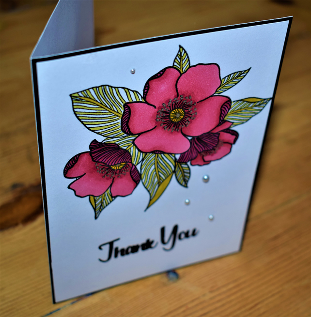 modern floral thank you card. hand made. pink and green