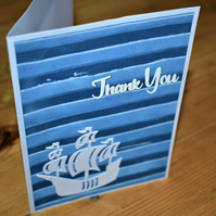 blue nautical thank you card. hand made. boat