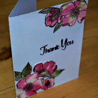 watercolour floral thank you card. handmade pink and green