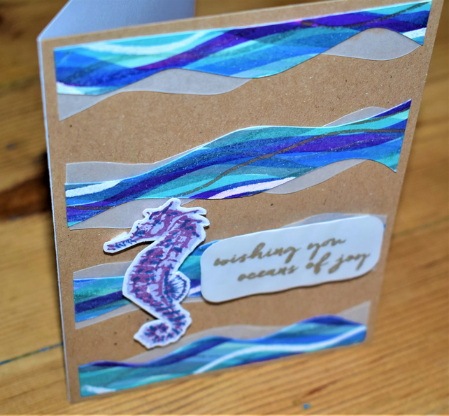 nautical, sea side, good luck, just because card. sea horse. handmade