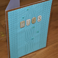 knitted texture handmade card.hugs. just because. encouragement, friendship card