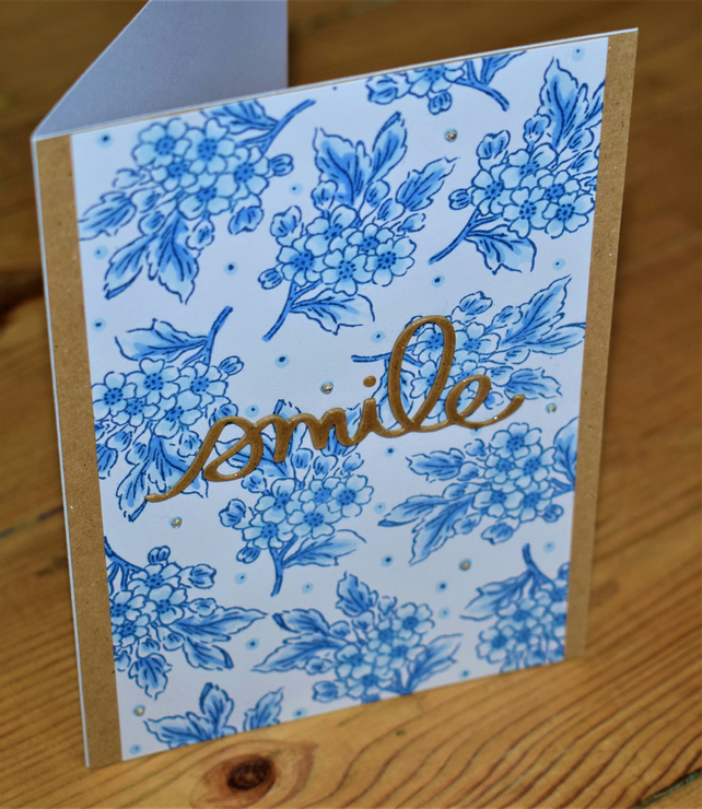 blue and white floral handmade card. friendship, encouragement, smile