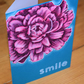 modern floral handmade card, smile, just because, pink flower, friendship card