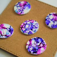 purple bubble effect handmade buttons x5