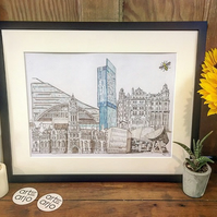 Manchester Collage Print