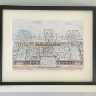 Old Trafford Stadium -Manchester United F.C. - Manchester - A4 Size Paper Print