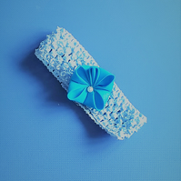 Small Blue Kanzashi Headband.