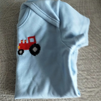 Light Blue Tractor Vest age 3-6 months