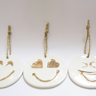 Three Porcelain Christmas Decorations - set of 3 emoji inspired happy faces.