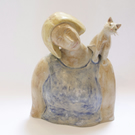 Ceramic sculpture - Woman with Cat