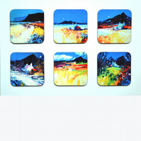 Six Piece Coaster set No.3 of Paintings by Martin Oates (free p.p. U.K.)